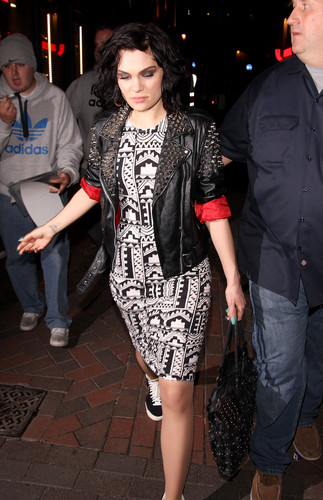 Jessie J wallpaper with a business suit entitled Leaving Cirque De Soir Nightclub In Soho London [9 June 2012]