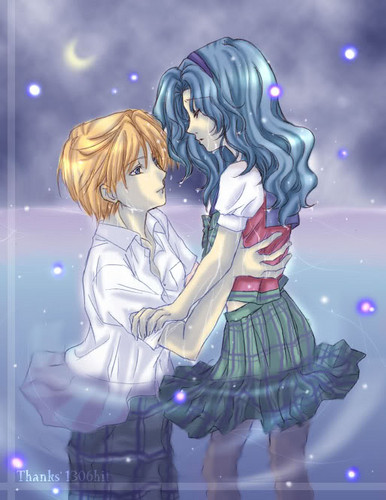 Sailor Uranus and Sailor Neptune karatasi la kupamba ukuta probably with anime titled MIchiru and Haruka
