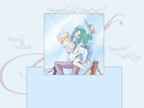 Sailor Uranus and Sailor Neptune karatasi la kupamba ukuta probably containing anime titled MIchiru and Haruka