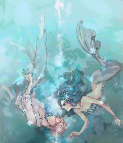 Sailor Uranus and Sailor Neptune karatasi la kupamba ukuta probably with anime titled MIchiru and Haruka