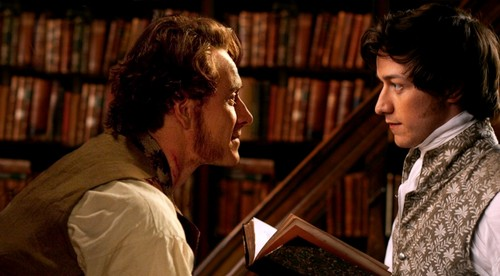 James McAvoy and Michael Fassbender wallpaper with a bookshop, an athenaeum, and a library entitled McFassy