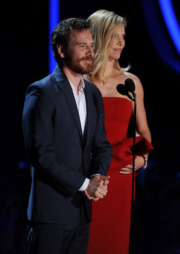 Michael Fassbender with Charlize Theron at the MTV Awards