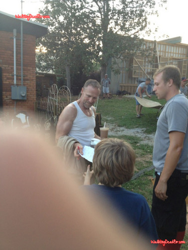 The Walking Dead wallpaper called Michael Rooker(Merle) on the set of TWD Season 3