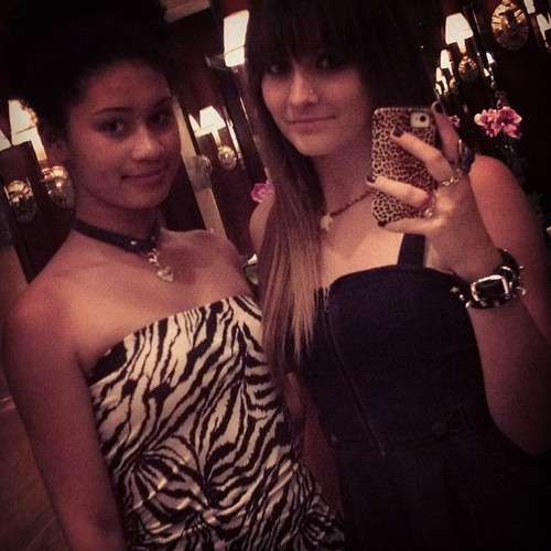 Michaela and Paris Jackson new 2012 june