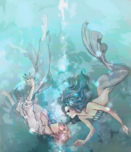 Sailor Uranus and Sailor Neptune karatasi la kupamba ukuta possibly with anime entitled Michiru and Haruka