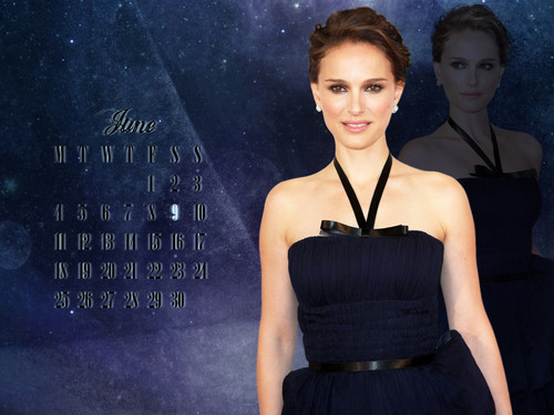Natalie Portman wallpaper containing a dinner dress and a gown entitled NP.COM Calendar - June