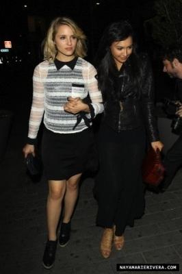 Naya leaving a club with Dianna Agron