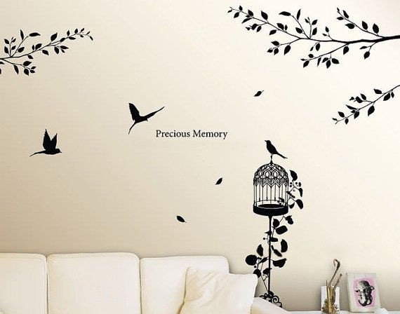 home decorating images precious memory birds and branches wall