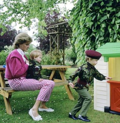 Princess Diana and her Sons 바탕화면 with a park bench titled Princess Diana and the Princes