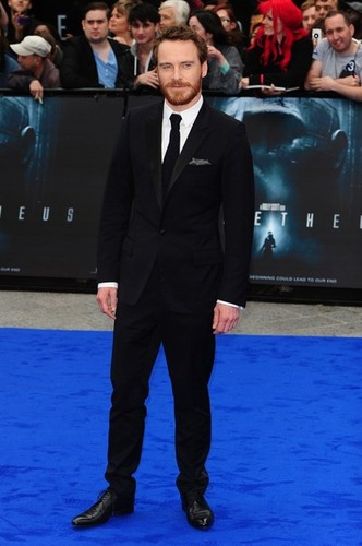 Michael Fassbender wallpaper containing a business suit, a suit, and a well dressed person entitled Prometheus Premiere 2012