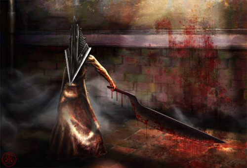 Silent Hill wallpaper probably with an abattoir called Pyramid Head