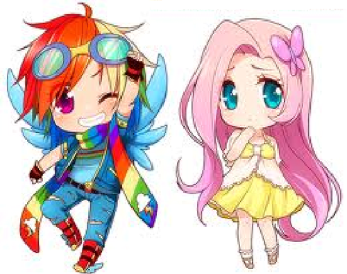 pelangi, rainbow Dash and Fluttershy HUMAN