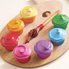 Rainbow Paint Cupcakes - cupcakes Photo