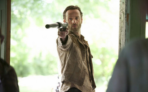 The Walking Dead پیپر وال possibly with an outerwear, a hip boot, and a well dressed person titled Rick Grimes-Season 3