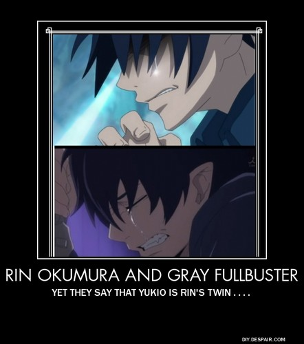 Rin Okumura/ Gray Fullbuster  - blue-exorcist Fan Art