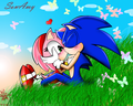 SONAMY KISS - sonic-and-amy wallpaper