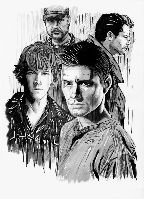 Sam, Bobby, Dean, Castiel