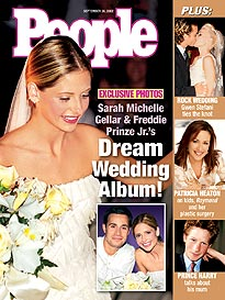 Celebrity Weddings Images Sarah Michelle Geller And Fred Prinze Jr 2002 Wallpaper Background Photos