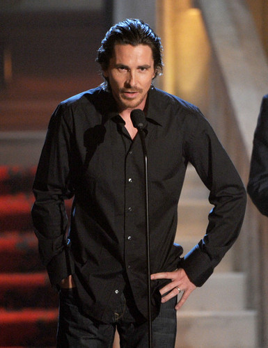 Christian Bale wallpaper possibly containing an outerwear, a well dressed person, and an overgarment titled Spike TVs 6th Annual Guys Choice Awards Show