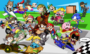 Super Smash Bros. Brawl wallpaper containing anime called Super Dash Bros. Grand Prix
