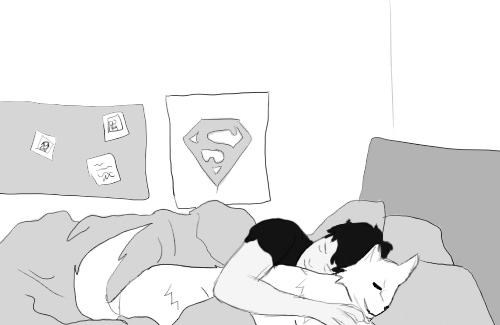 Superboy and Wolf sleep