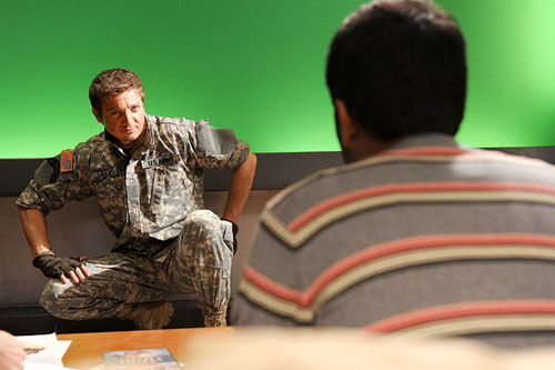 Jeremy Renner wallpaper probably with a sign, a fedora, and a drawing room titled The Hurt Locker photoshoot(2010)