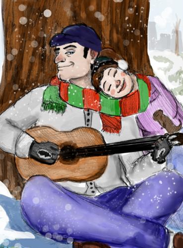 The Seniorita sleeps as the snow falls on her ruddy cheeks.
