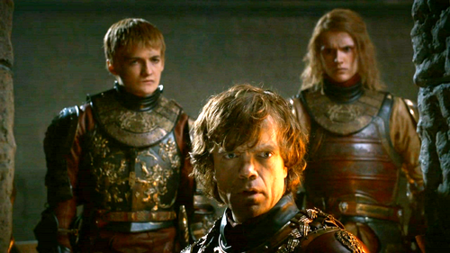 House Lannister wallpaper with a breastplate, an armor plate, and a fauld titled Tyrion and Lancel with Joffrey