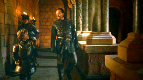 Tyrion with Bronn and Podric