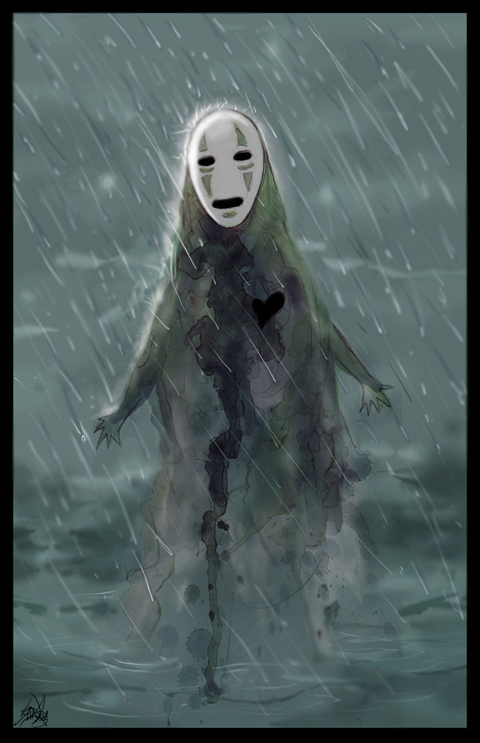 No Face Of Spirited Away Images In The Rain HD Wallpaper And Background Photos