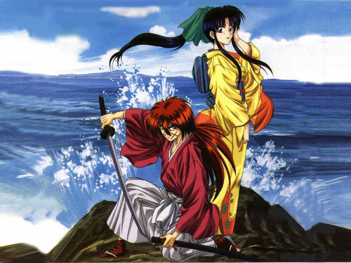 kenshin and kamiya kauru at the sea