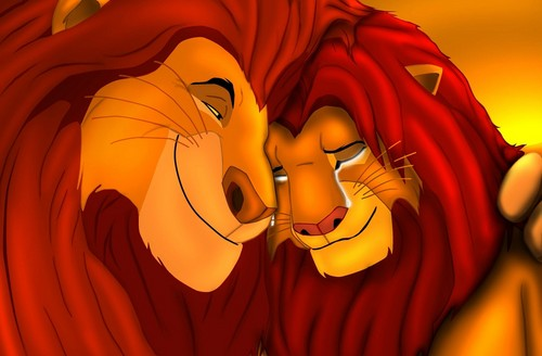 The Lion King kertas dinding titled simba and mufasa