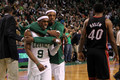 win game 4 vs heat - rajon-rondo photo