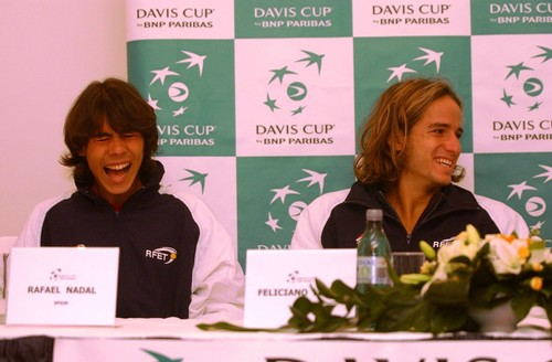 young Rafael Nadal and Feliciano Lopez