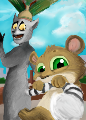 Baby Fossa loves King Julien ( and his yummy tail!) - penguins-of-madagascar Fan Art