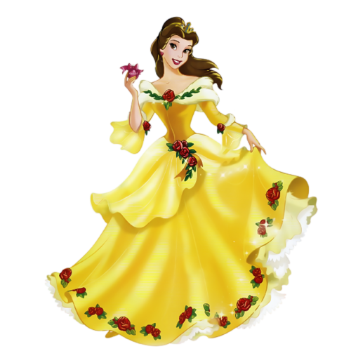 Disney-Prinzessin Hintergrund with a bouquet, a gown, and a bridesmaid titled Belle