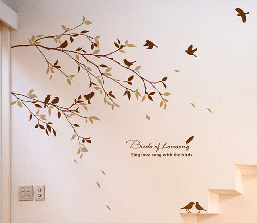 Главная Decorating Обои containing a sign entitled Birds Of Lovesong Sing Любовь Song With the Birds Стена Sticker