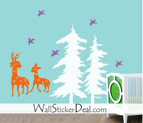Birds Play with Deer around Pine বৃক্ষ দেওয়াল Stickers