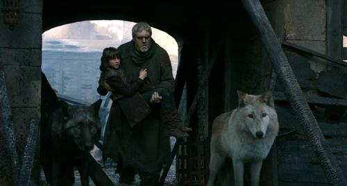 Bran and Hodor with Summer and Shaggydog
