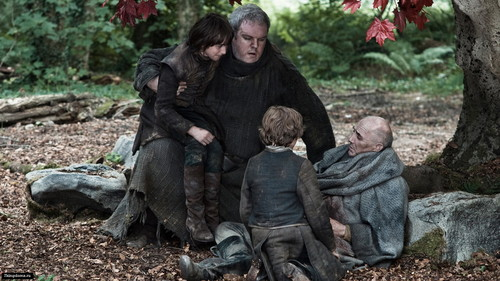 Bran and Rickon with Luwin and Hodor