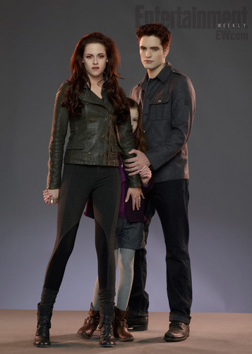 Twilight Series wallpaper containing a well dressed person, a hip boot, and an outerwear titled Breaking Dawn part 2 promo: Edward, Bella, and Renesmee