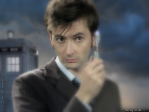 Doctor Who achtergrond probably with a business suit, a well dressed person, and a portrait titled Calming the storm