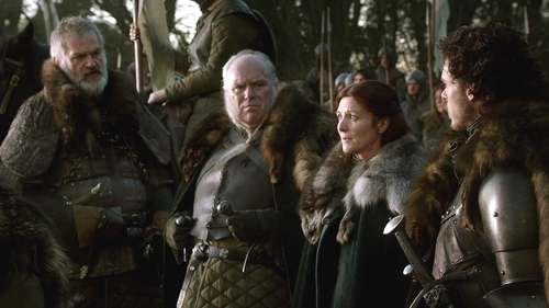 Catelyn and Robb with Rodrik and Greatjon