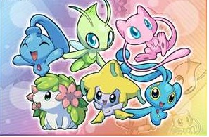 maalamat pokemon wolpeyper titled Celebi and mga kaibigan