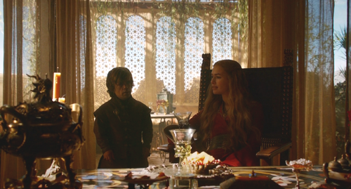 House Baratheon wallpaper with a brasserie, a dinner table, and a bistro entitled Cersei and Tyrion