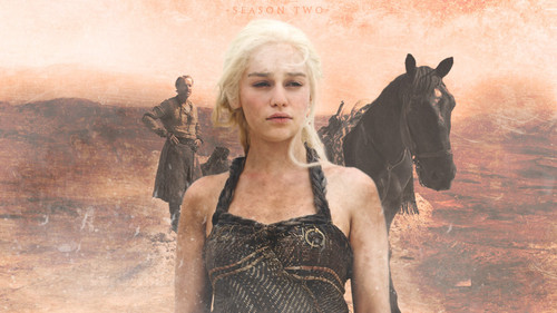 Daenerys Targaryen wallpaper possibly containing a chemise, a cocktail dress, and a bustier entitled Daenerys Targaryen Season 2