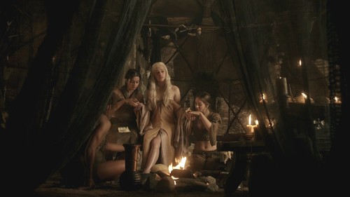 Daenerys Targaryen wallpaper probably containing a fontana titled Dany with Irri, Doreah and Jhiqui