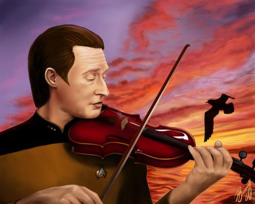 bintang Trek-The seterusnya Generation kertas dinding with a pemain biola, violist and a cello entitled Data
