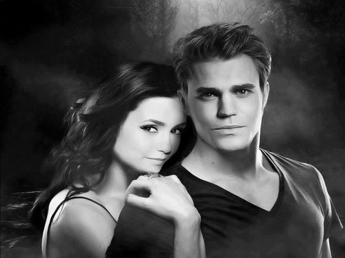 The Vampire Diaries پیپر وال containing a portrait entitled Elena & Stefan