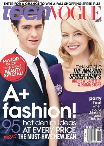 Andrew Garfield پیپر وال with a portrait titled Emma Stone & Andrew Garfield Cover Teen Vogue August 2012